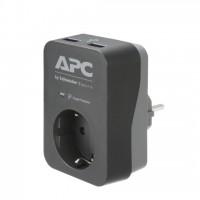 APC PME1WU2B-GR APC Essential SurgeArrest 1 Outlet 2 USB Ports Black 230V Germany