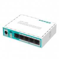 MIKROTIK hEX lite RB750r2 RouterBoard 5x Ethernet, Small plastic case, 850MHz CPU, 64MB RAM, Most affordable MPLS router, RouterOS L4